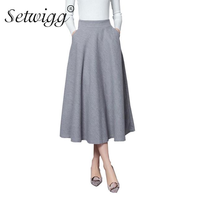 175bc78ae € 26.98 |SETWIGG nueva invierno mezcla de lana larga falda Swing alta  cintura del estiramiento grueso A line largo Flared faldas con bolsillos en  ...