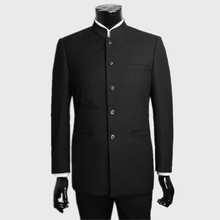Custom Men's suits made black Wedding Suits tuxedos For Men mandarin collar groomsman Suits Groom suits dress (Jacket+Pants)