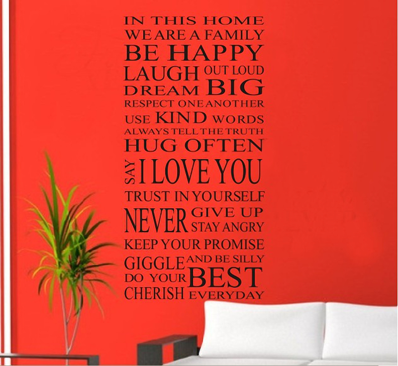 Aliexpress.com : Buy House Rule Wall Decals Rules Of Our Family Removable  PVC Vinyl Lettering Saying Quotes Wall Sticker Living Room Bedroom Decor  From ...