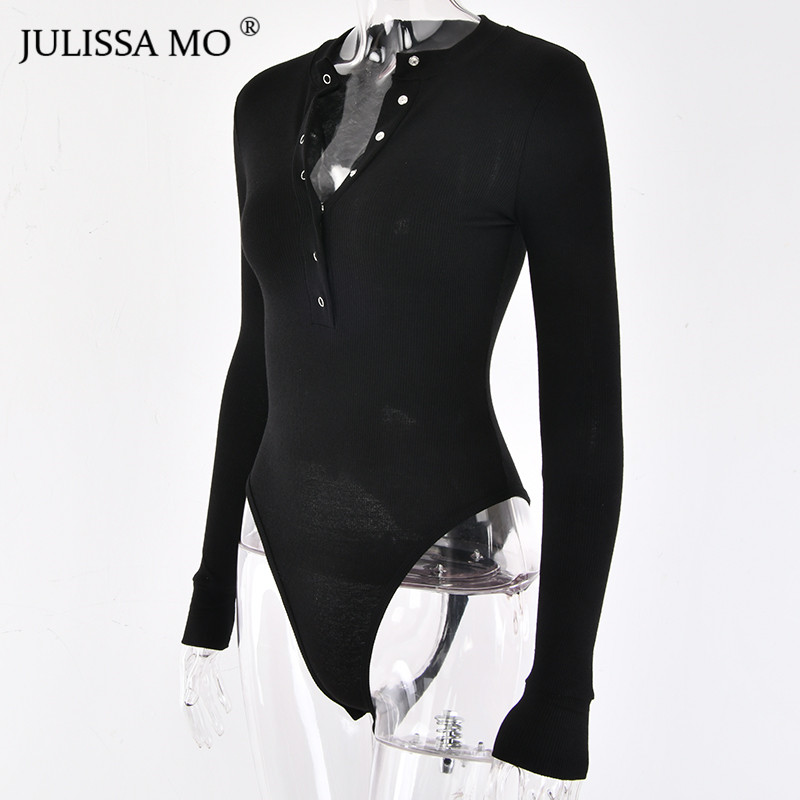 HTB1DyOAX2fsK1RjSszgq6yXzpXaU - JULISSA MO Sexy V Neck Knitted Bodysuit Women Black Long Sleeve Buttons Rompers Womens Jumpsuit Casual One-pieces Bodysuits