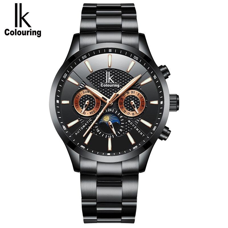 Esqueleto Homens Relógio Automático IK coloração Moda pulseiras De relógio de Aço Inoxidável dos homens relógios Relogio Automatico masculino À Prova D' Água