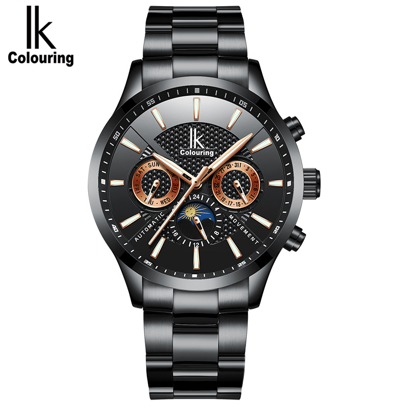 Skeleton Automatic Watch Men IK colouring Fashion Waterproof men watches Relogio Automatico Masculino Stainless Steel watchbands