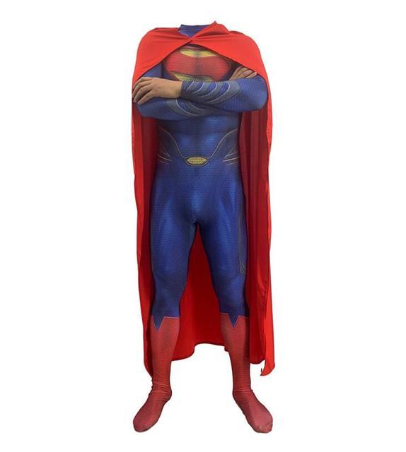 Alta Qualidade Superman Costumes Lycra Spandex de Corpo Inteiro Super hero Zentai Ternos Super hero Capa Para Crianças E Homens Cosplay outfit