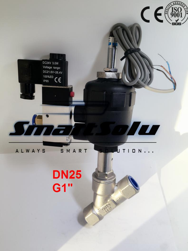 Free shipping DN25 pneumatic angle valve mounted with proximity switch and solenoid valve G1 free shipping dn32 pneumatic angle valve mounted with approach switch and solenoid valve g1 1 4