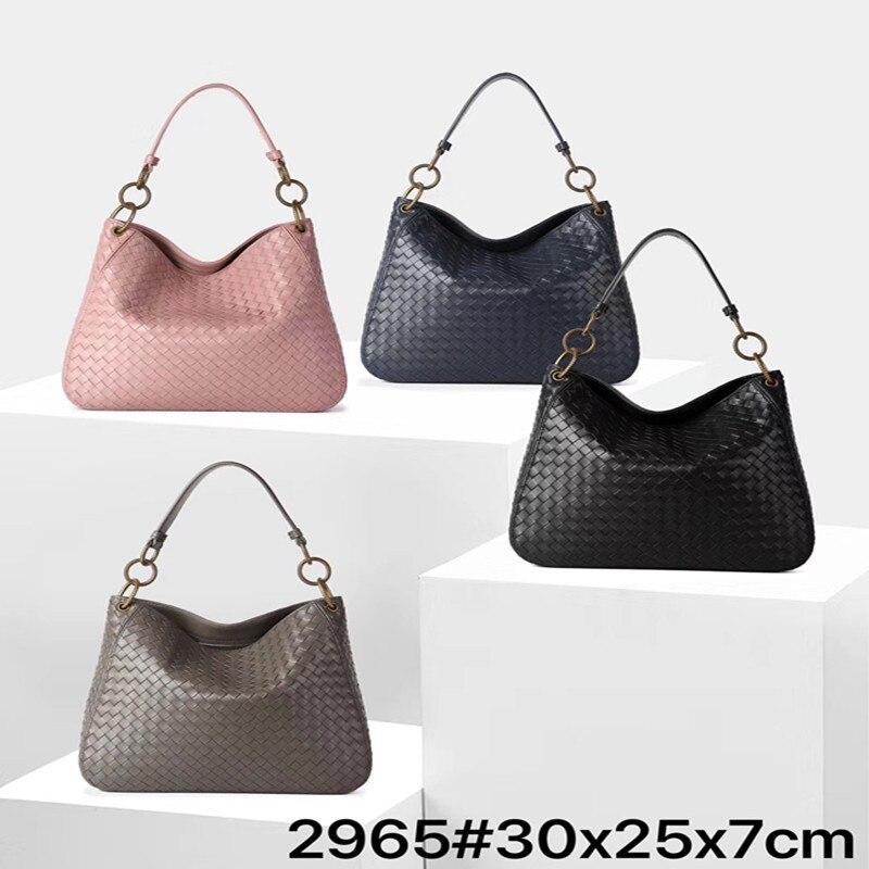 Bagaj ve Çantalar'ten Üstten Saplı Çanta'de 2019 yeni kova çanta koyun derisi deri çantalar kadın çantası omuzdan askili çanta en saplı çanta örgü çanta kadın kesesi ana femme title=