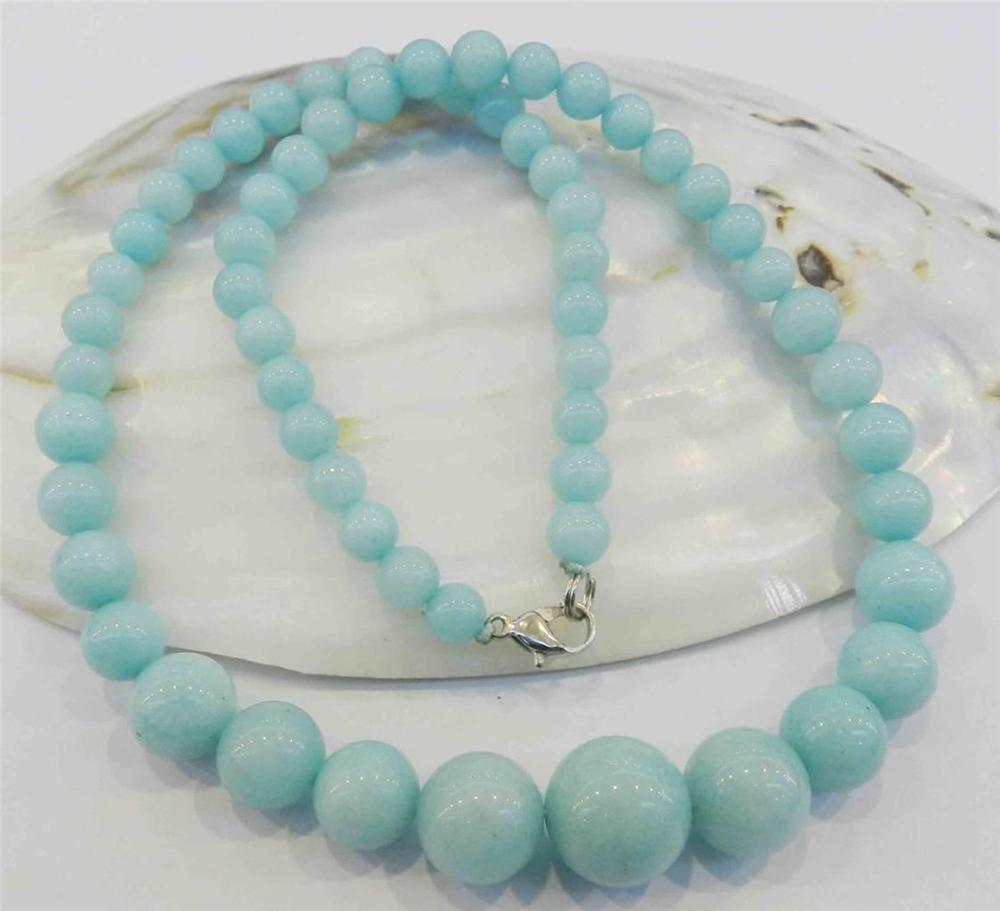 wholesale good Beautiful 6-14mm Light Blue Brazilian gem Gems Round Beads Necklace 18