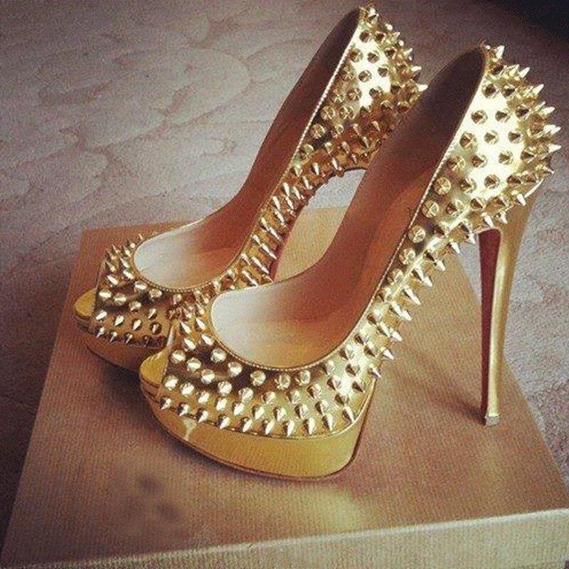 2017 new arrive fashion gold color 12.5 cm high-heeled shoes women sandals waterproof party wedding   rivets shoes peep toe pump