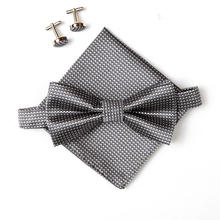 fashion grip bow tie sets for men hanky cufflinks butterfly Pocket towel 10colors