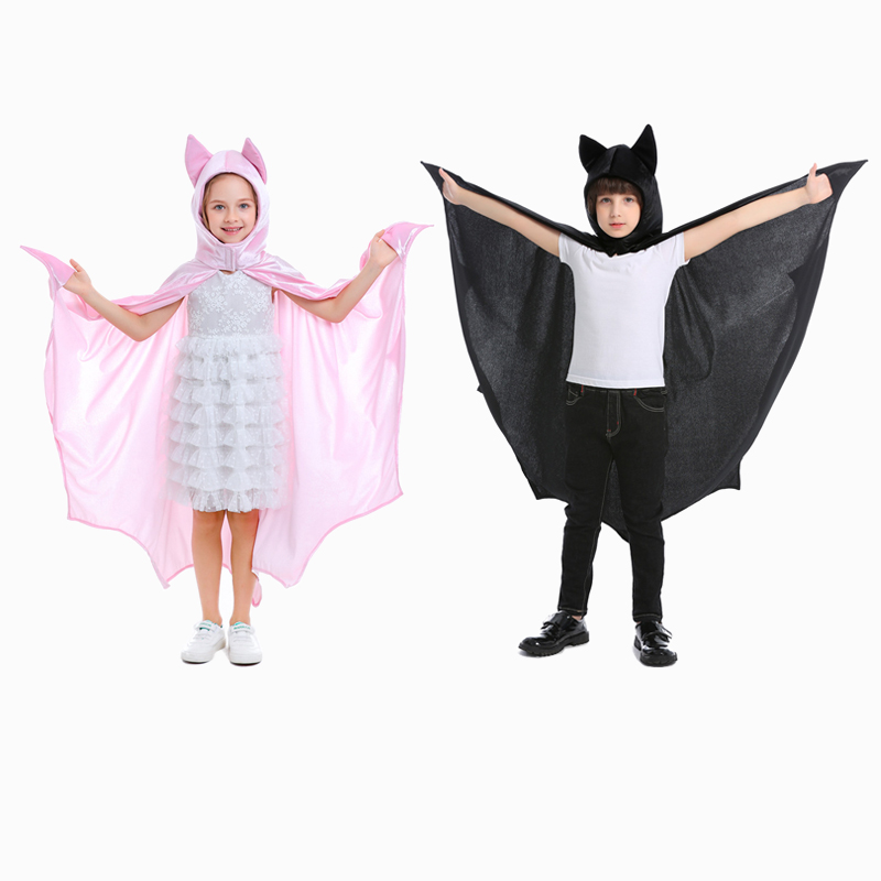 Cute Black Pink Bat Costume Cosplay For Kids Animals Children Halloween Carnival Party Suit