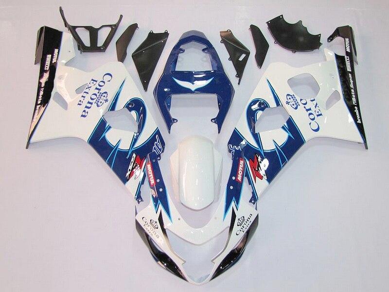 Инъекции для синий белый K4 04 05 SUZUKI GSX-R600 GSXR600 Горячая GSXR-600 GSXR 600 2004 2005 Обтекатели для кузова