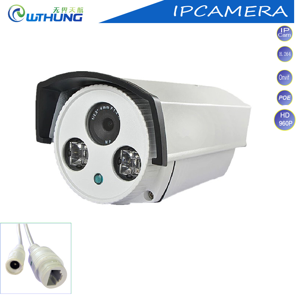 Network POE IP Camera 1.3MP 960P 1/3 CMOS Sensor Bullet outdoor waterproof P2P ONVIF 2 Array IR lamp for CCTV security Camera original hikvision 1080p waterproof bullet ip camera ds 2cd1021 i camera 2 megapixel cmos cctv ip security camera poe outdoor