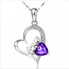 TJP Luxury Cubic Zirconia Purlpe Heart Female Pendants Necklace Jewelry Trendy 925 Sterling Silver Girl Love Lady Bijou