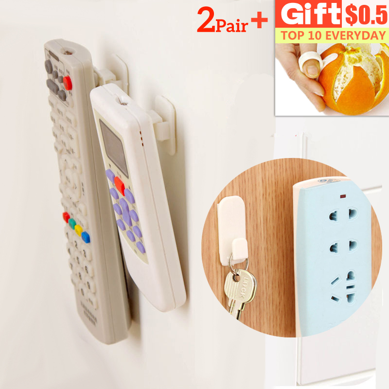 2Set(4pcs) Storage Stand Self Adhesive Plastic Hooks Key Remote Holder Wall Mounted Shelves Strong Organizer Holder