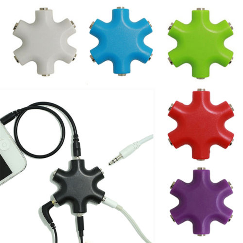 5 Audio Outputs Audio Line Headset 3 .5 Mm Jack Earphone Splitter 1 In 5 Couples Adapter For Mp3 Mp4 Portable Media Player