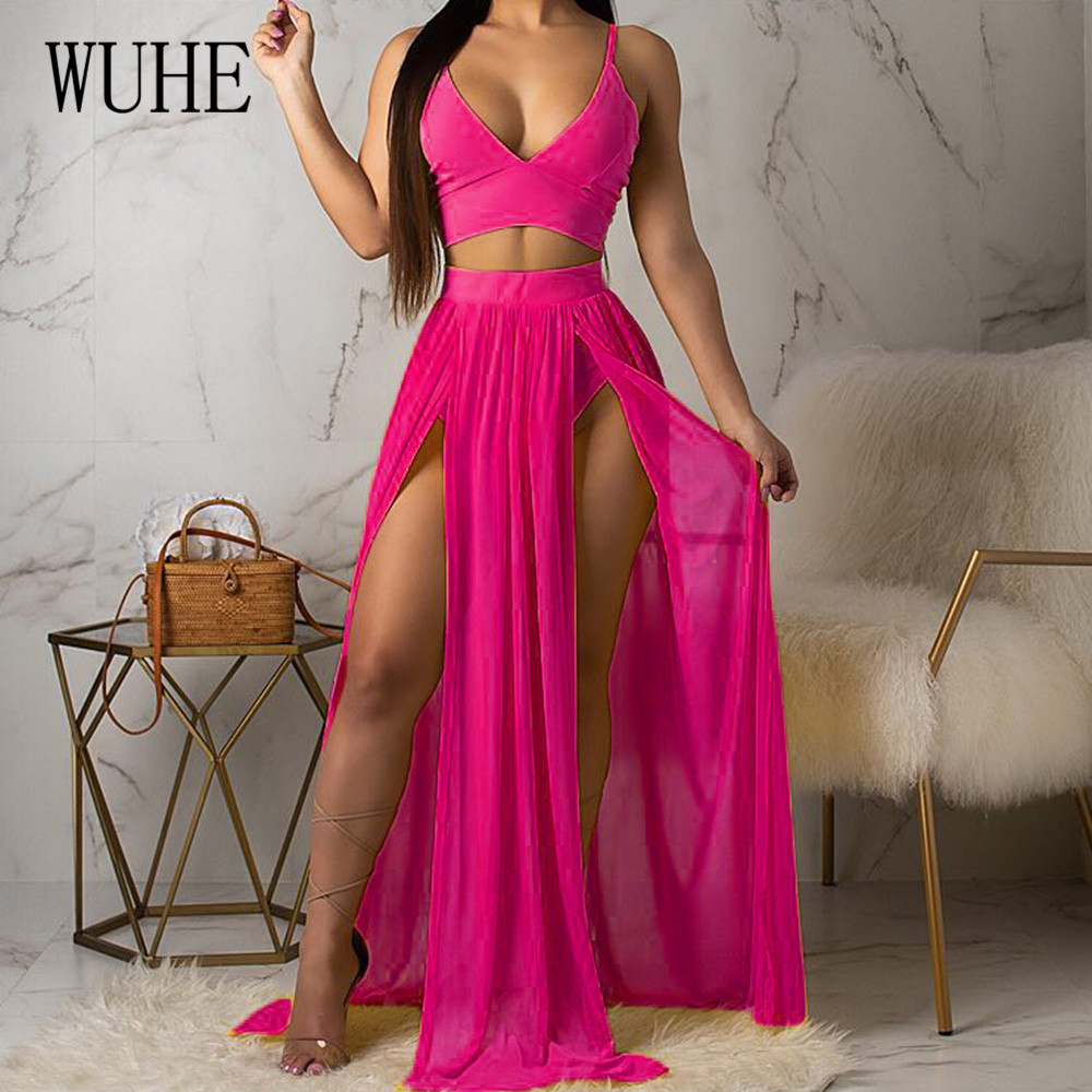 WUHE Summer Bohemian Beach Chiffon Dresses Sexy Sleeveless High Split Maxi Dress Femme Vintage Holiday Party Vestidos De Fiesta in Dresses from Women 39 s Clothing