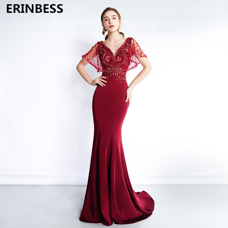 Vestido De Festa V-back V-Neck Mermaid   Evening     Dresses   Long   Dress   2020 Fashion Robe De Soiree Beading Burgundy   Evening     Dress