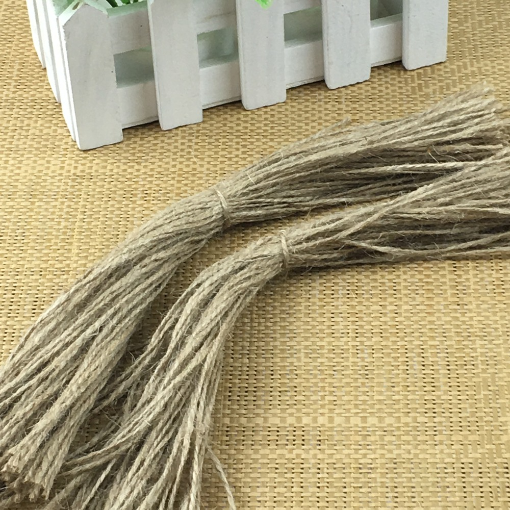 Stock Natural Two-Strand Hemp Rope Hang Price Tags's Hemp String DIY For Paper Cards/Gift Tags/Gift Boxes/Handmade/Craft