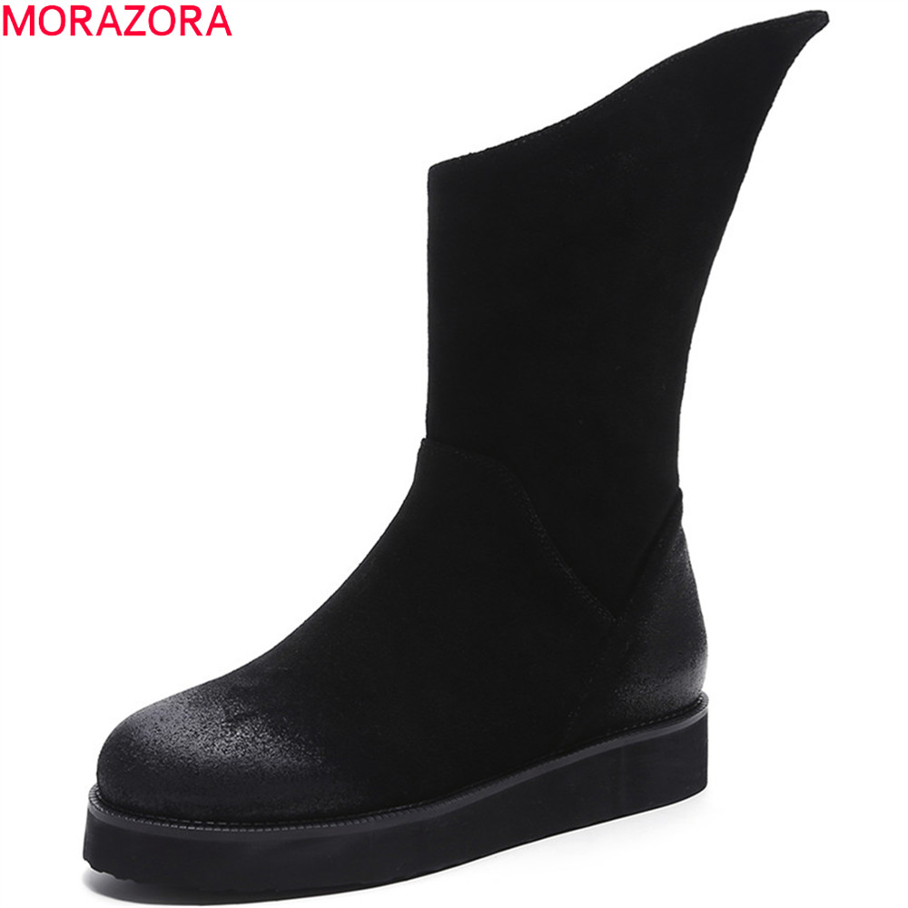 MORAZORA black fashion women boots round toe zipper cow suede botos flat with leather autumn winter ankle boots big size 34-43 2018 fashion cow leather zipper superstar winter boots women round toe low heel solid concise pregnant chelsea ankle boots l08