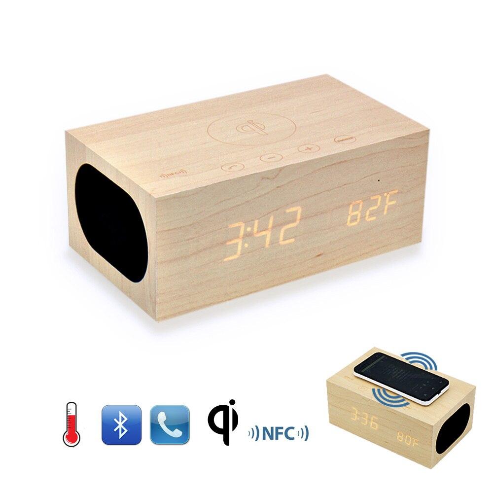 Prix pour D'origine X5 QI Sans Fil De Charge Bois Horloge Bluetooth Haut-Parleur avec NFC, Double USB Chargeur, Alarme Horloge, Température mains libres Téléphone
