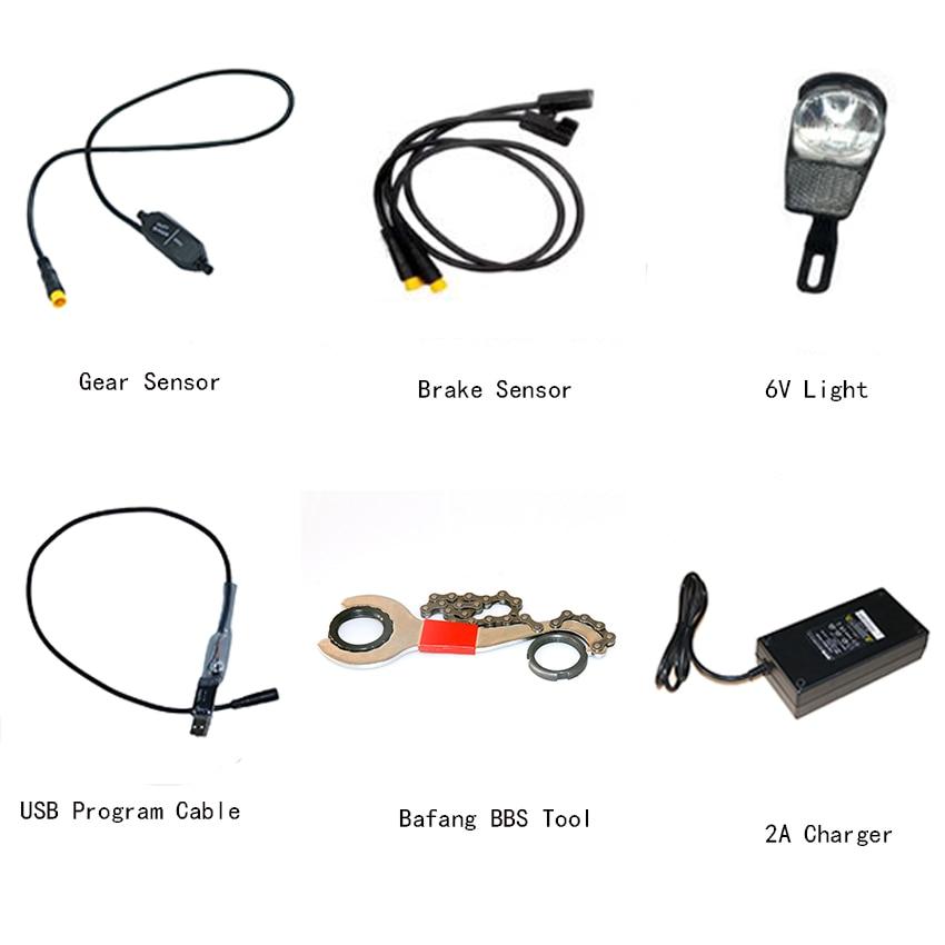 BAFANG Mid Drive Motor Accessories Gear Sensor Brake Sensor 6V Head Light USB Programming Cable 2A
