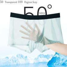 DEWVKV Mens Underwear Sexy Ice Silk Men Boxer Shorts Male Panties Soft Comfortable Transparent Water Uptake Solid Hot Sale ZC