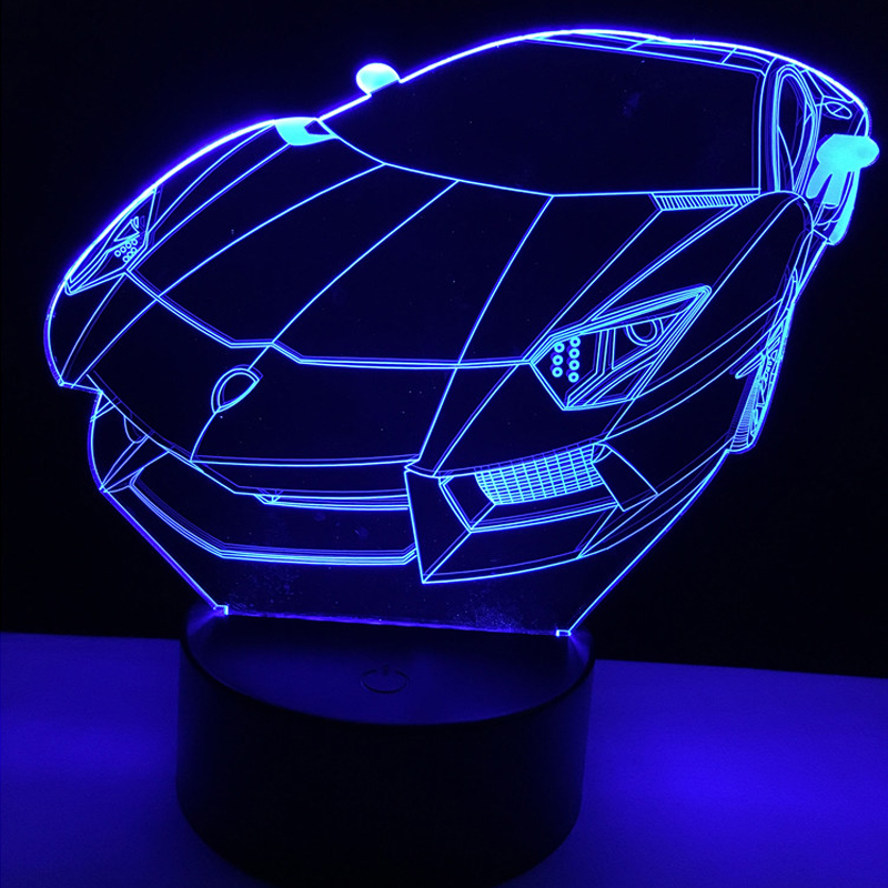 Racing Car 3D Lamp Luminarias USB 7 Color Changing LED Atmosphere Gradient Visual Nightlight Illusion Child Bedroom Decor Gifts 8072 toronto blue jays baseball cap hat 3d led lamp atmosphere lamp 7 color changing visual illusion led decor lamp