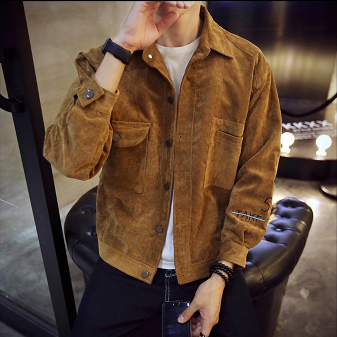 2019 Spring Autumn Hot Corduroy Jackets Men Long Sleeve Turn Down Collar Slim Solid Bomber Jacket Gray Brown Khaki Outwear Coats