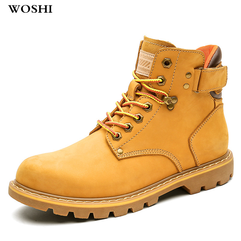 Boots Men genuine Leather Fashion Male Shoes Martin Boots Large size 46 Resistant Man Winter boots with fur warm snow boots k4