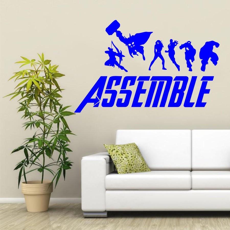 Avengers Assemble, Ironman, Thor, Black Widow, captain America, Hulk, aufkleber, Vinyl, aufkleber, Wandkunst, hause, schlafzimmer, kindergarten