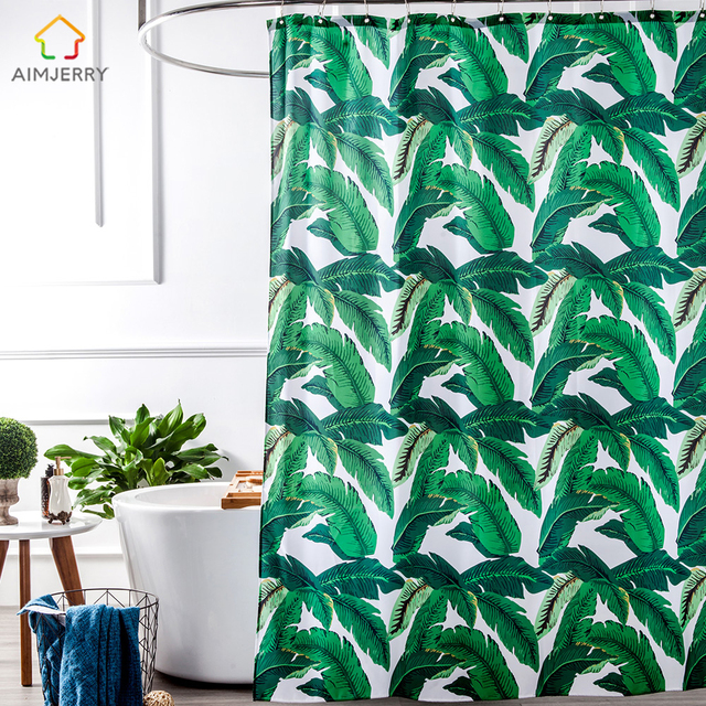 Aimjerry Eco Friendly Green Leaves Design Waterproof Fabric Bathtub Bathroom Shower Curtain Liner With 12