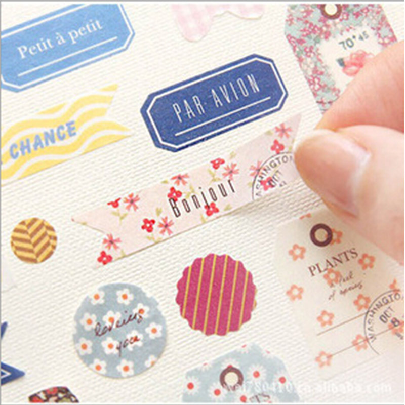 6 pcs/lot cartoon floral paper sticker decoration decal diy album scrapbooking sealing sticker kawaii stationery