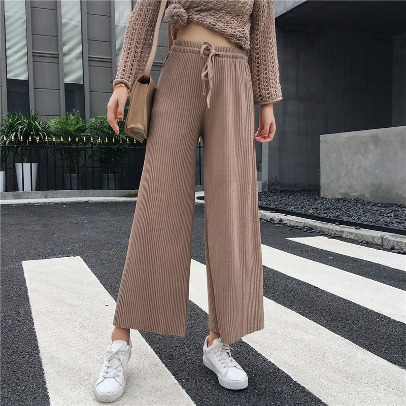 2019 Summer Women Elegant Loose Slim Long   Pants   New Style Pleated   Wide     Leg     Pants   Solid Color Lace Up Casual   Pants