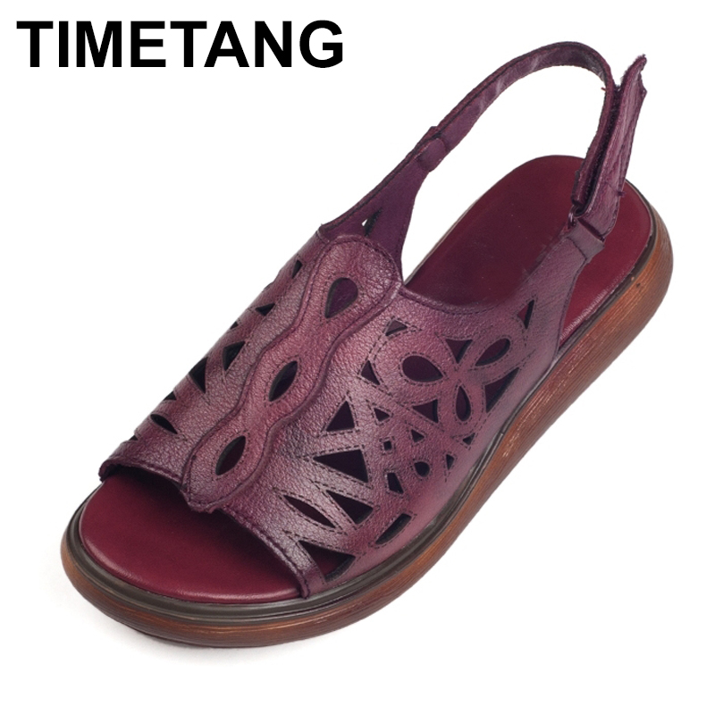 TIMETANG  Women's Sandals Summer Genuine Leather Vintage Style Laides Shoes Flat Sandals Women 2018 Comfortable Mother Shoes