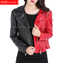 Fashion women high quality Sheep skin lapel Cross rivets locomotive punk loose short paragraph black red
