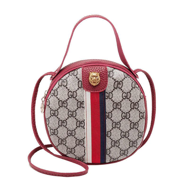 Женская Повседневная круглая Мини Портативная сумка на одно плечо, сумка из искусственной кожи для телефона, сумка для монет, новая трендовая сумка через плечо