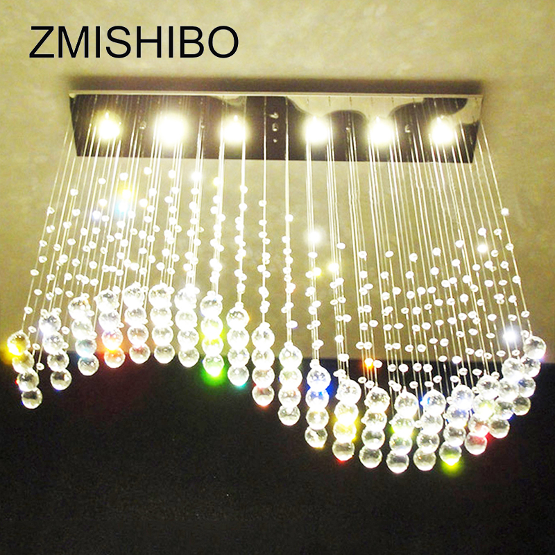 ZMISHIBO Wave Crystal Pendant Ceiling Lamp 5/6 LED Bulbs 110-220V Surface Mounted Hanging Chandelier For Dining Room Hotel Palor