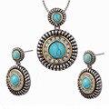 Vintage Turquoise White Simulated Sapphire Pendant&Earrings Women 925 Sterling Silver Fashion Jewelry Set Pendant&Earrings TT694