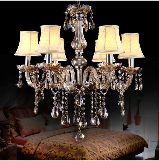 6 Heads Christmas Luxurious K9 Crystal Chandelier Cognac Lampshade Decoration Home Parlor Luminaire Lights E27 110-240V European