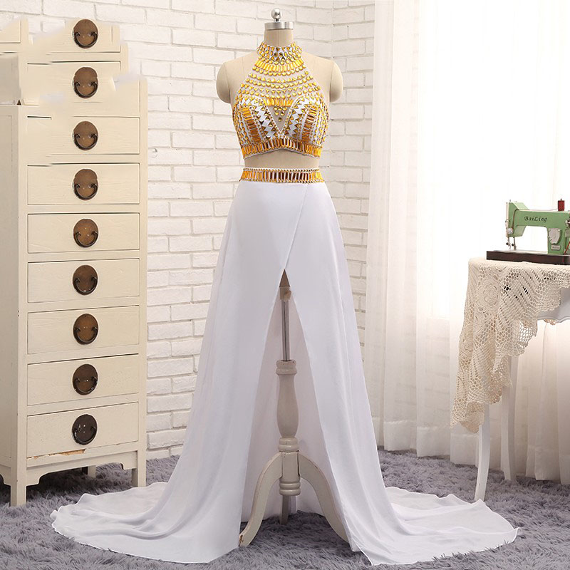 aliexpresscom buy two piece white and gold prom dresses