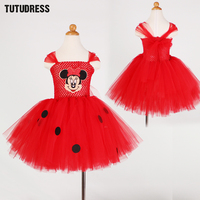 Baby Girls Cartoon Minnie Pattern Dress Red Pink Kids Girl Tutu Dress Cute Tulle Party Birthday