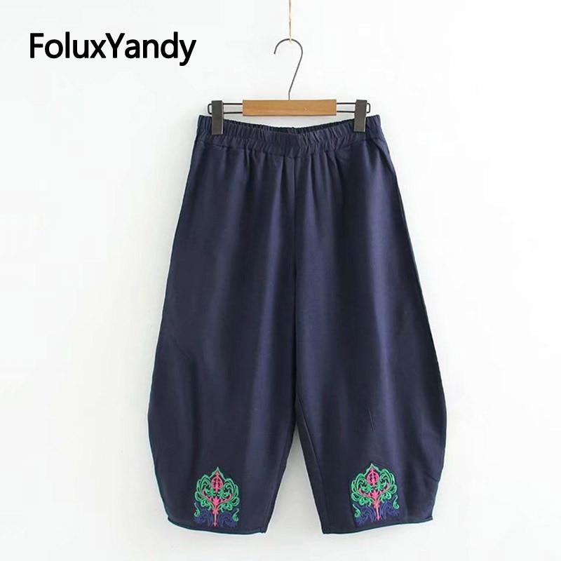 Vintage   Wide     Leg     Pants   Capris Women Plus Size Loose Embroidery Calf-length Cotton and Linen   Pants   Trousers KKFY3442