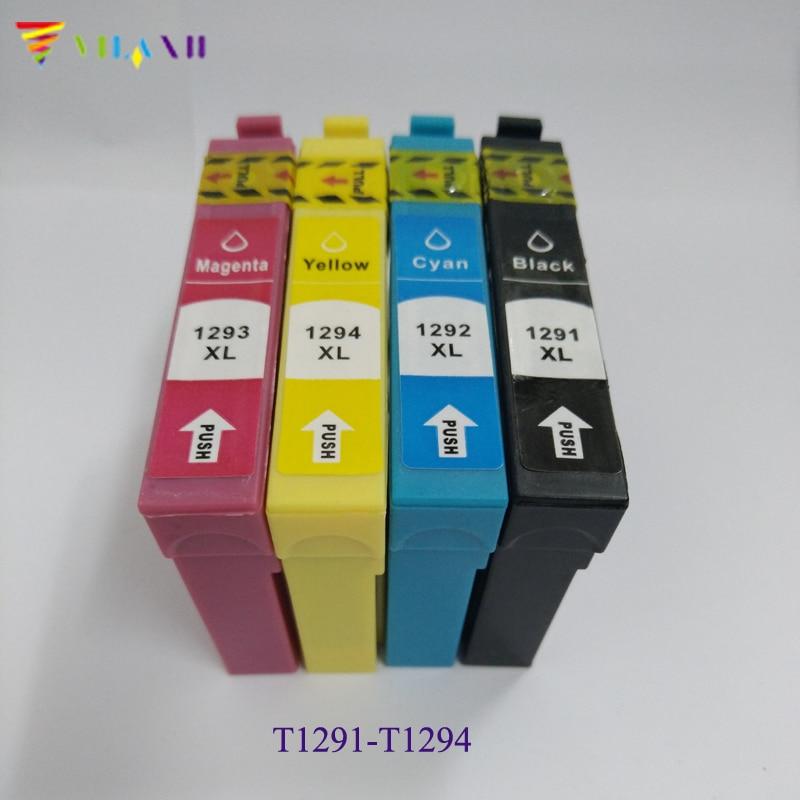 4pcs T1291 - T1294 Ink Cartridge for Epson Stylus SX430W SX235W SX230 SX420W SX425W SX435W SX440W SX445W SX525WD printer