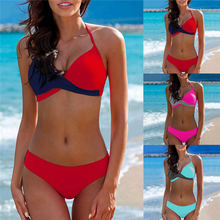 cc25515553 Ms colorblocking gathering split Mid Waist full cup bikini Set 2019 Plus  2XLsize Summer Swimwear Push · 3 Colors Available