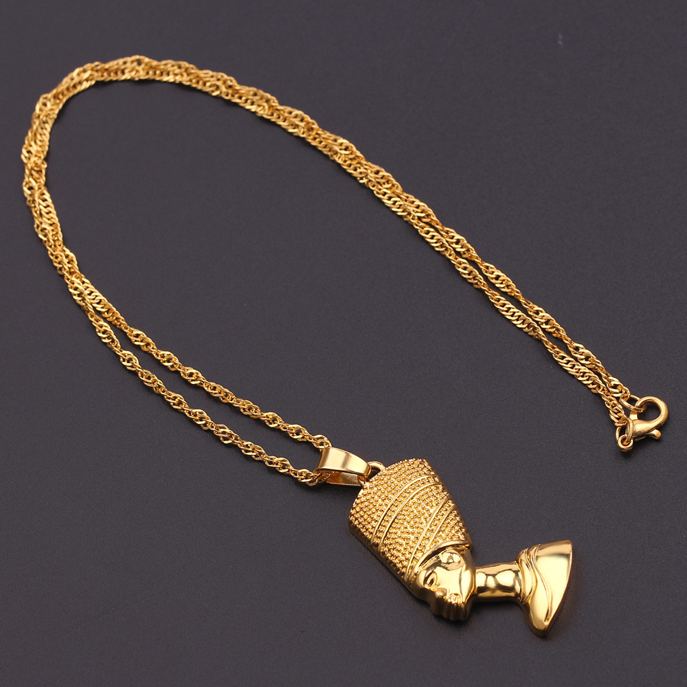 Exotic Egyptian Queen Nefertiti Pendant Necklaces for Women Men Jewelry Gold Color Wholesale Jewellery African Gift