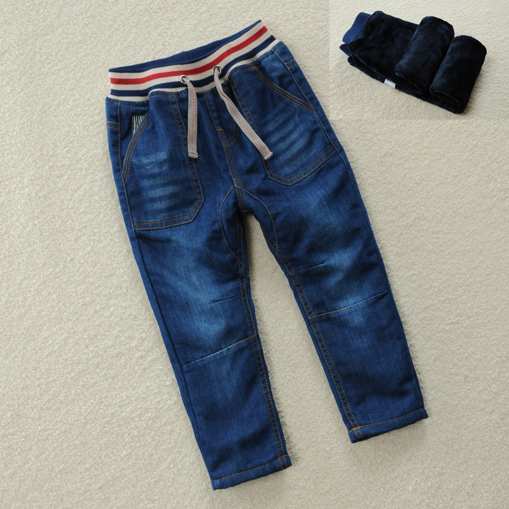 Winter Thick Boys Pants For 2018 New Fashion High quality Boys 2-10Y Pants Kids Trousers Girls Baby Children Solid blue Jeans calvin klein baby boys gray polo with blue pants