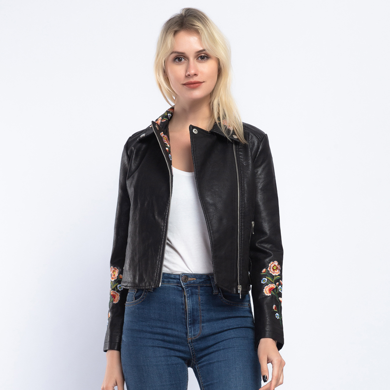 Brand Floral Embroidery Elegant Women Faux   Leather   Jacket Coat 2019 Spring Autumn Turn Down Collar Zippers PU Biker Jacket AO912