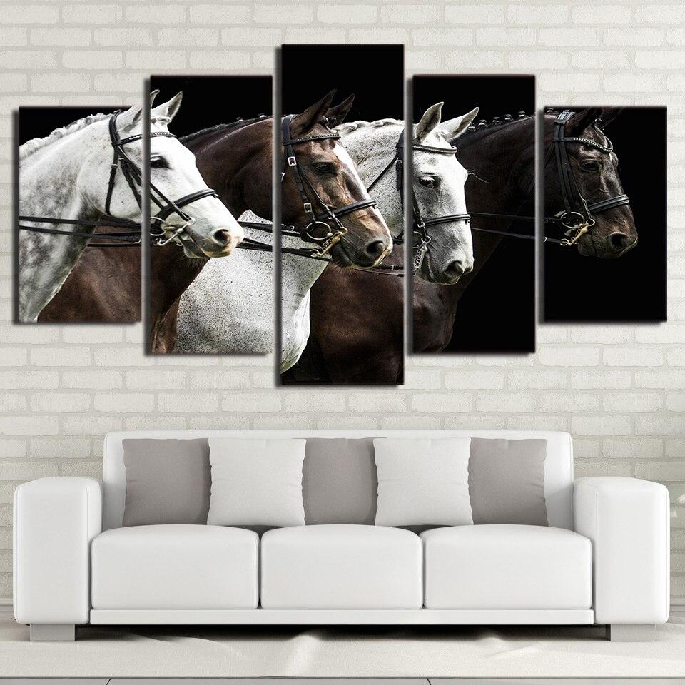 DIY diamond Painting 5Piece diamond embroidery Black And Brown Horse Race Canvas Art Home Decor full diamond mosaic cross stitch