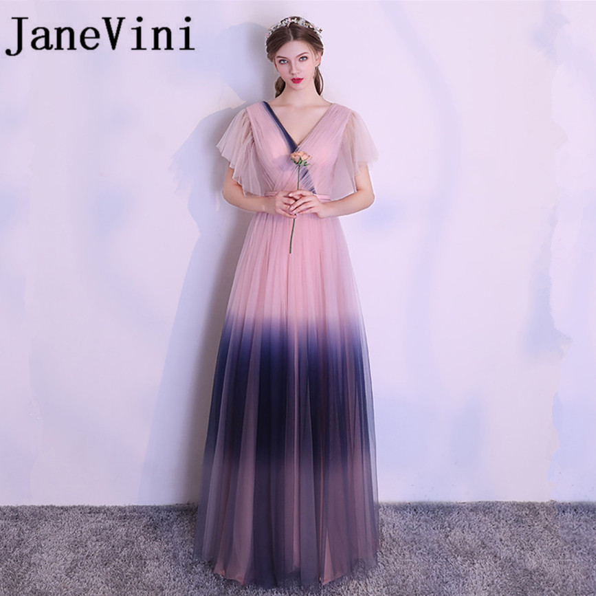 JaneVini Beautiful Gradient Long   Bridesmaid     Dresses   2018 V-Neck Backless Floor Length Wedding Guest Gowns Customized Plus Size