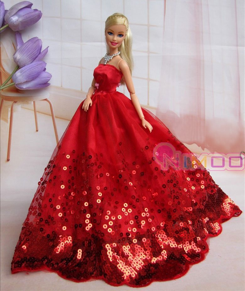 New red for barbie dress wedding dress party clothes gown for Wedding dresses for barbie dolls
