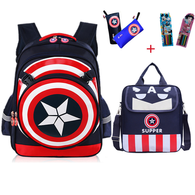 MVK The Avengers 4 Captain America 4pcs School Bags Boys Backpack Children Primary Students Schoolbag Kids Composite Bag Mochila